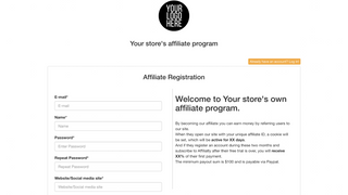Customize the registration page for your affiliates
