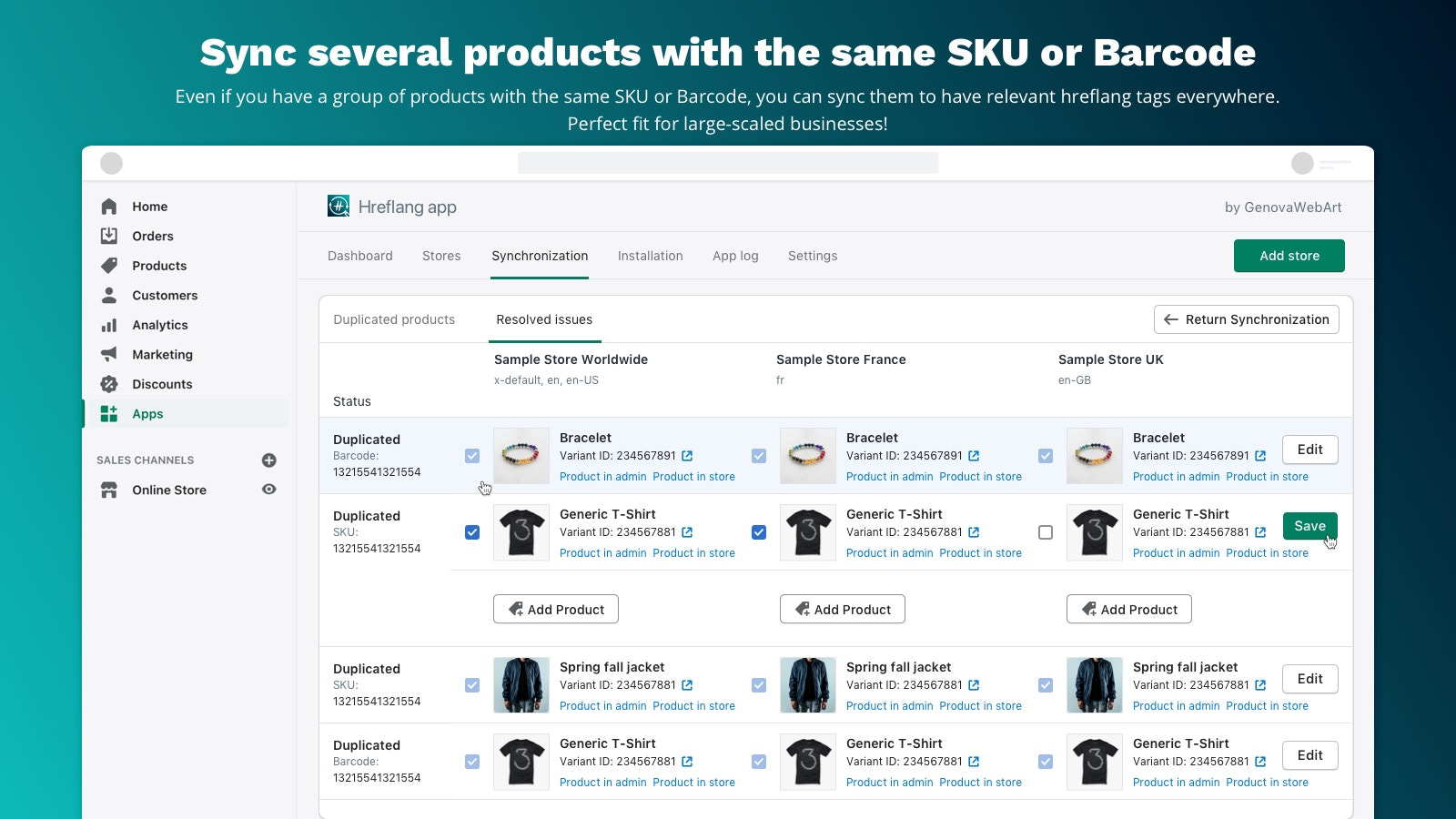 Sync content in international and multi-language stores