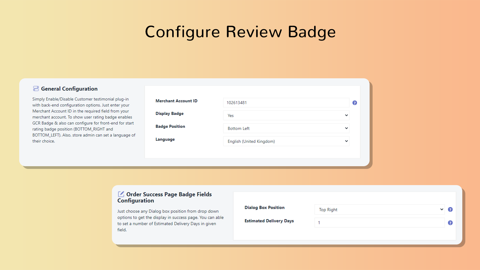 Front-view of Google Customer Review & Rating Badge