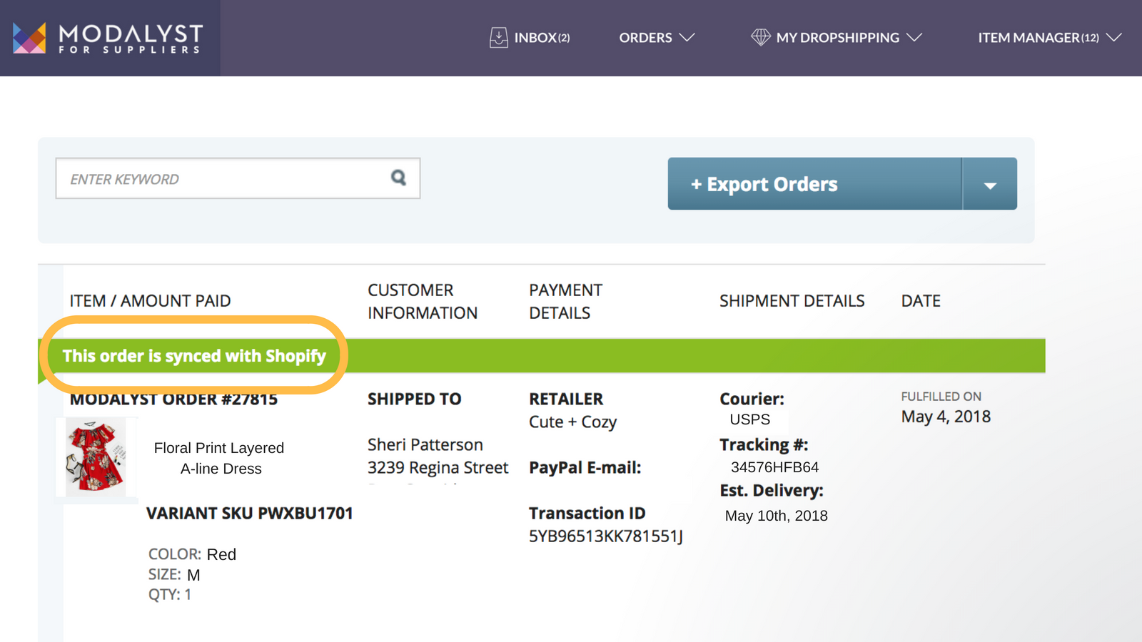 Orders sync to Shopify, including customer's shipping info