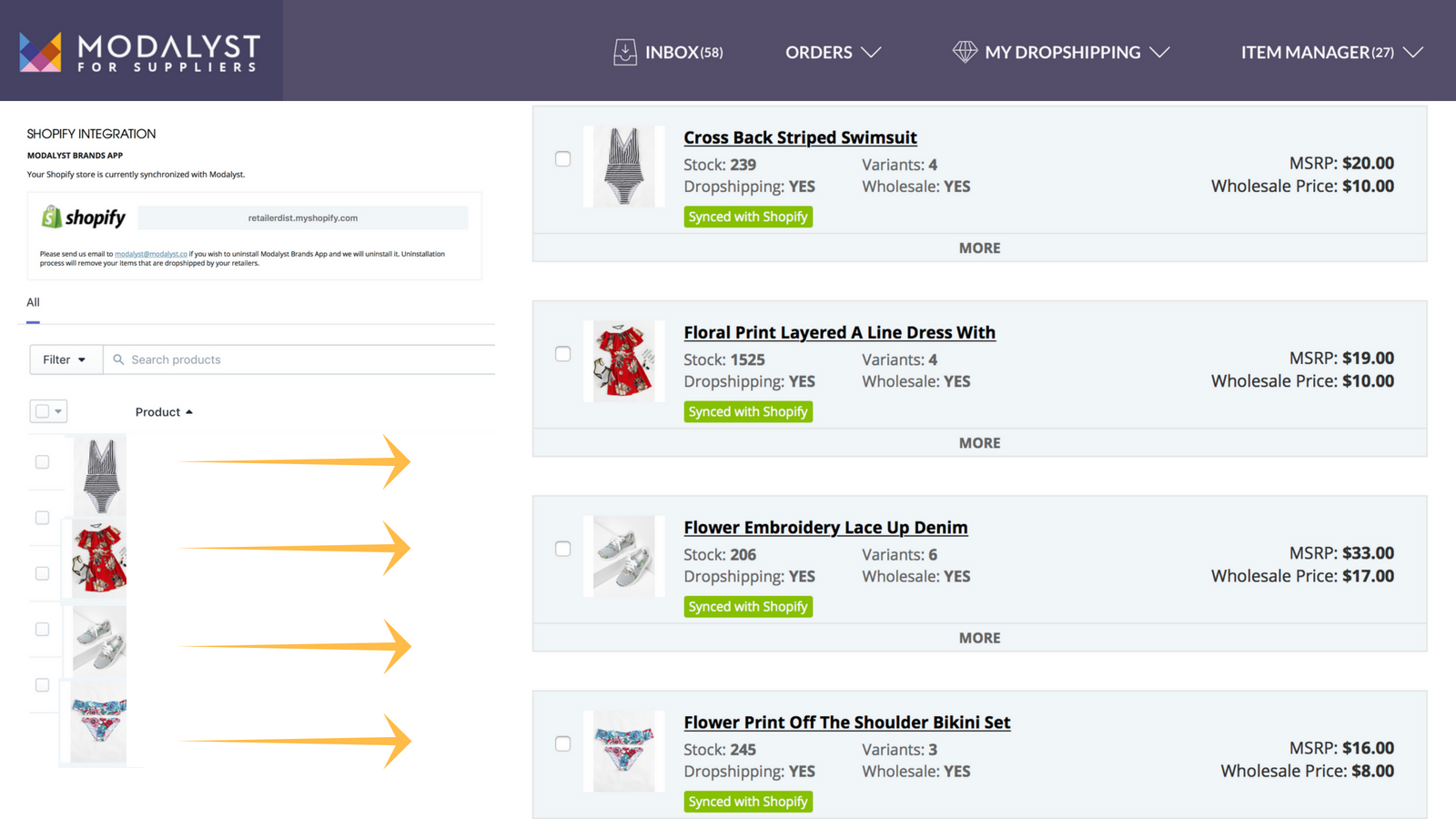 Product details, inventory and orders are synced with Shopify