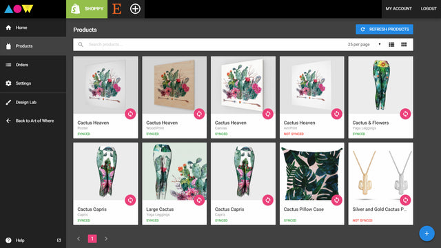 Sync you Art of Where products to Shopify