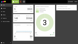 Overview of the dashboard home, with sales analytics