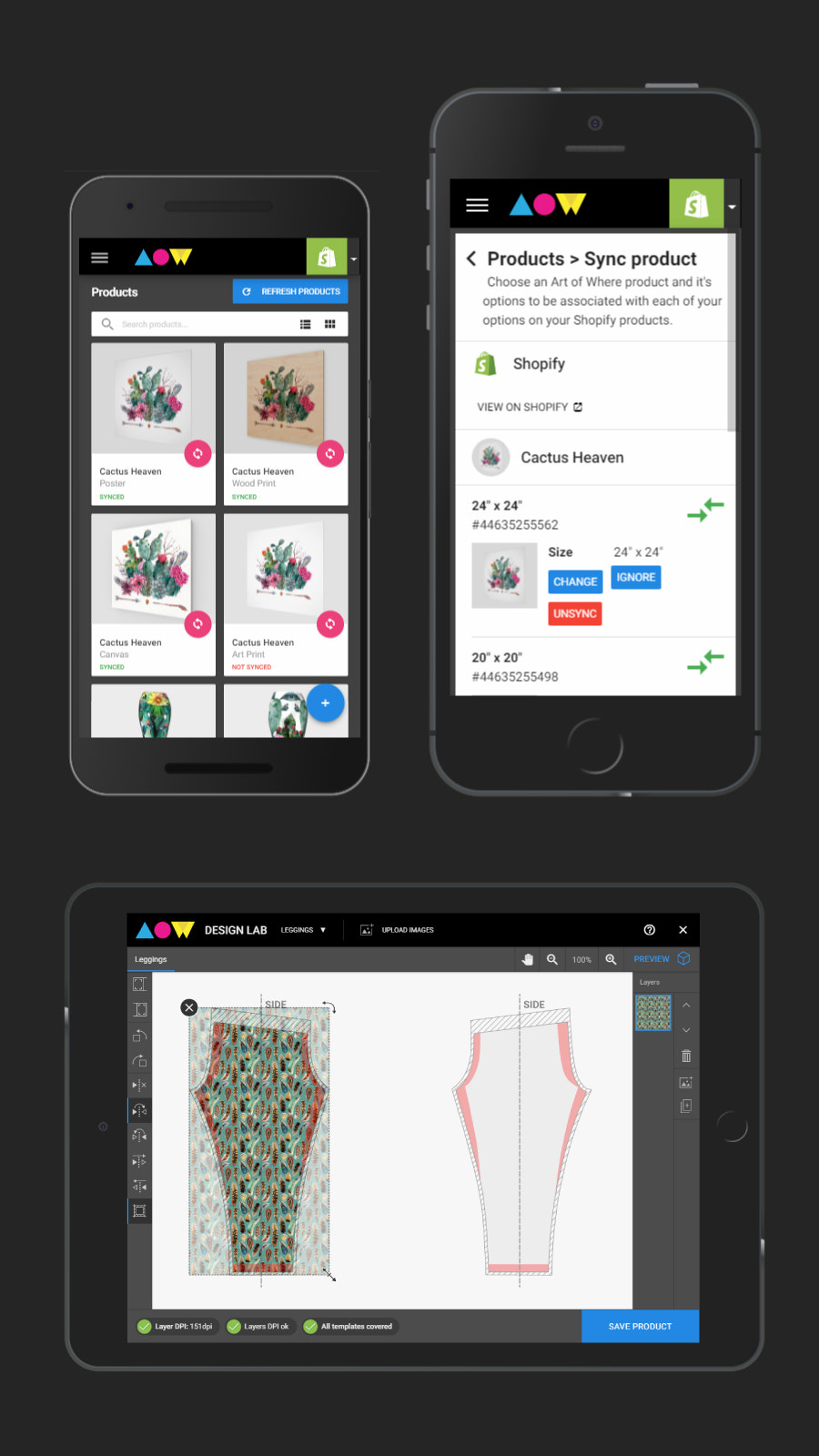 Art of Where dashboard for Shopify integration on mobile