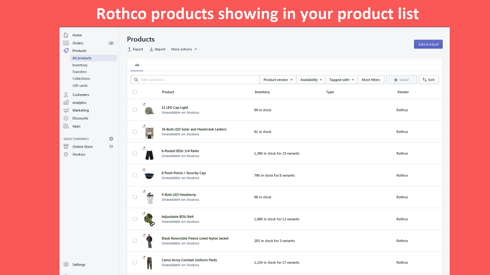Rothco product showing in your product listing