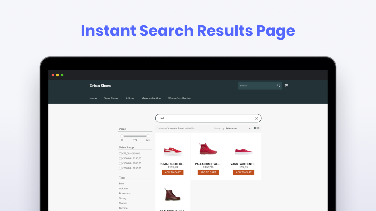 Instant Search Results Pages