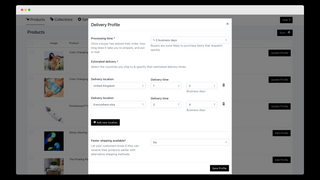 Delivery Estimation setting screen