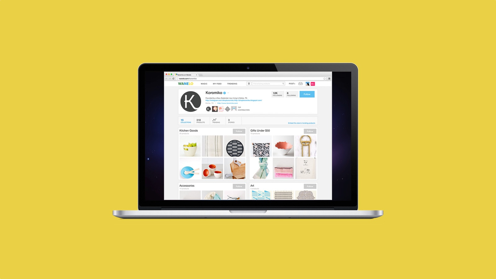 Get a Wanelo store page populated with your product catalog