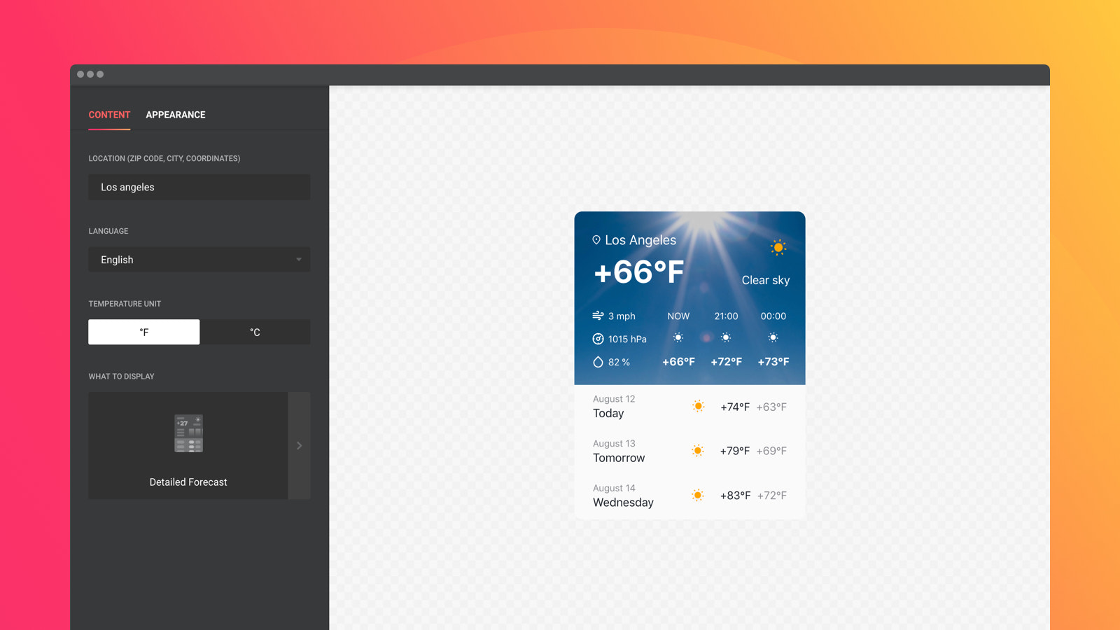 Show precise weather data and forecast for any point on the map
