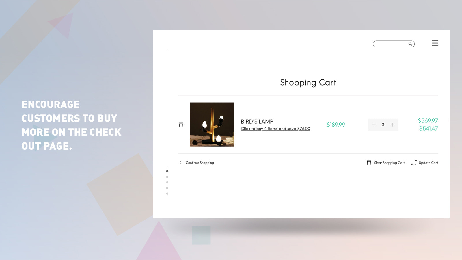 Buy more on the cart page