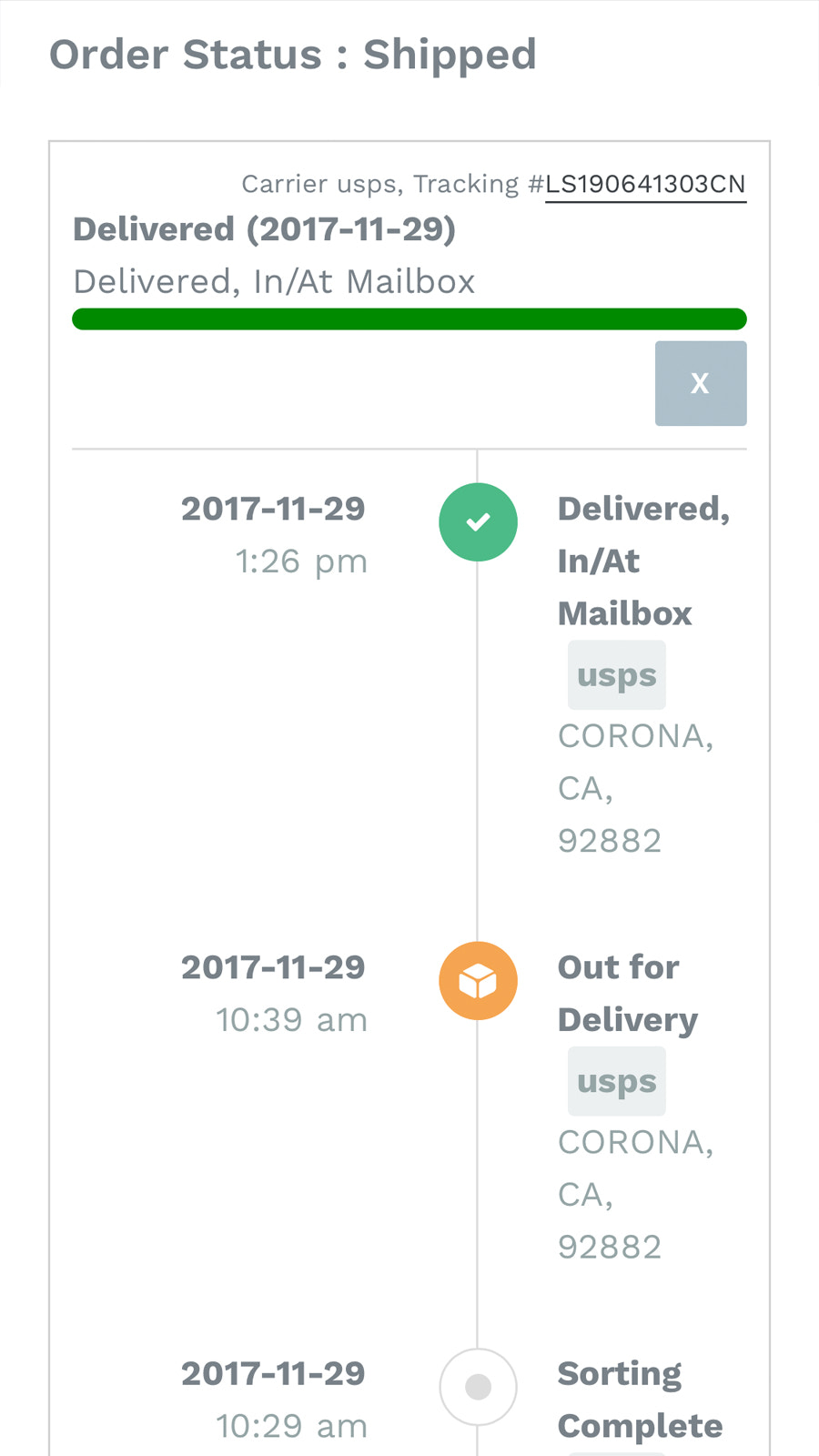Real-time order tracking for your customer's when you use Order