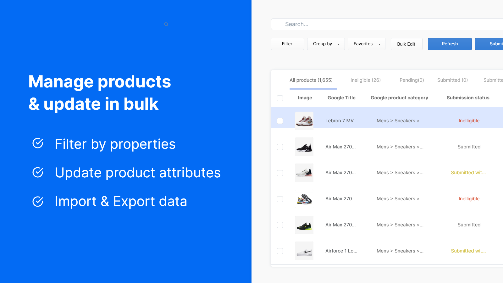 Manage products & update attributes in bulk