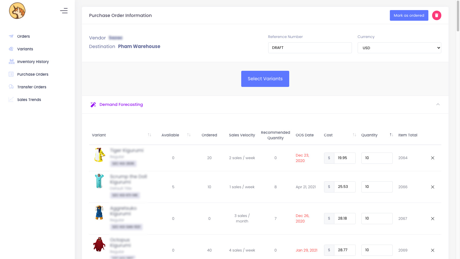 Easily create Purchase Orders, Transfer Orders and Stock Takes