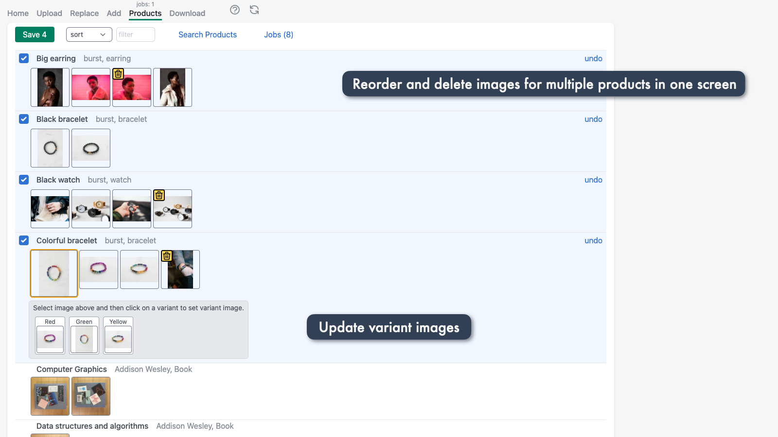 Reorder, delete and set variant images