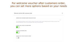 Additional options for welcome voucher after customers order