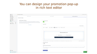 Design your promotion pop-up in rich text editor