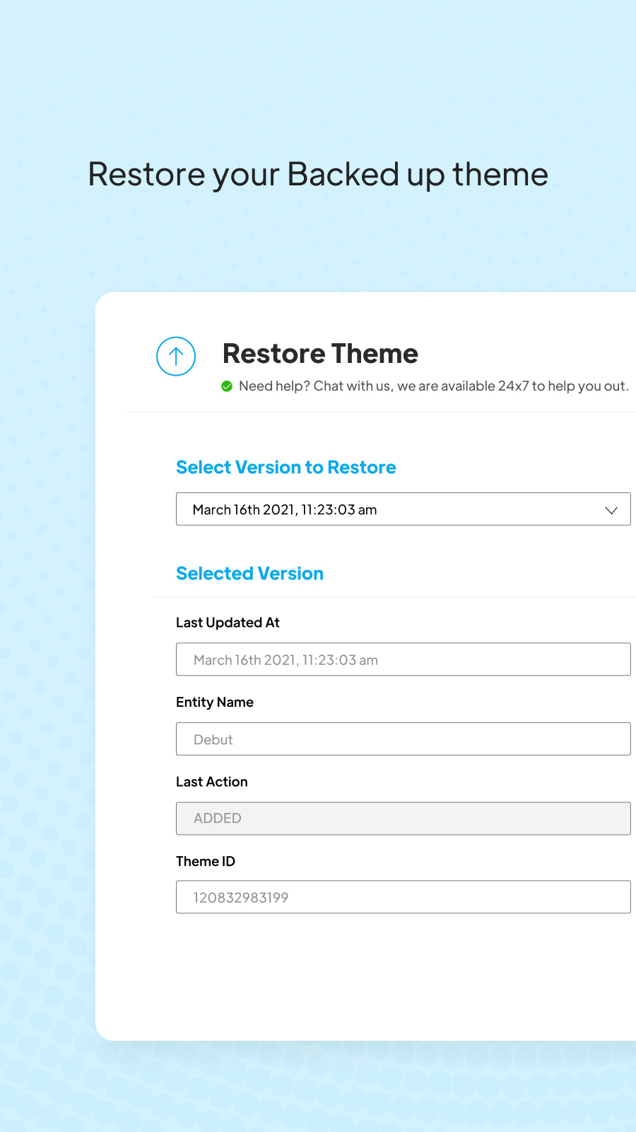 Restore Backed up theme