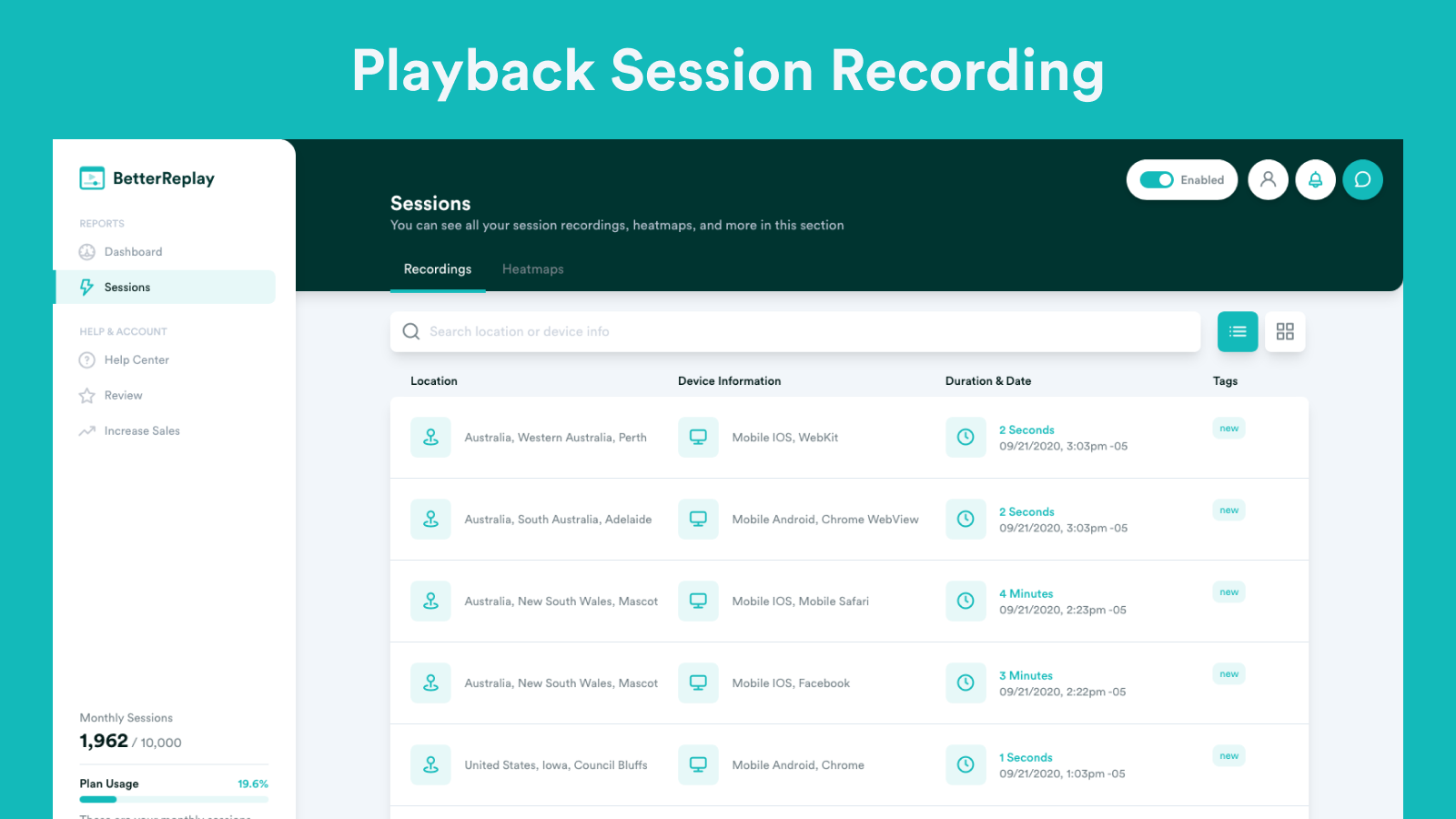 Playback Session Recordings