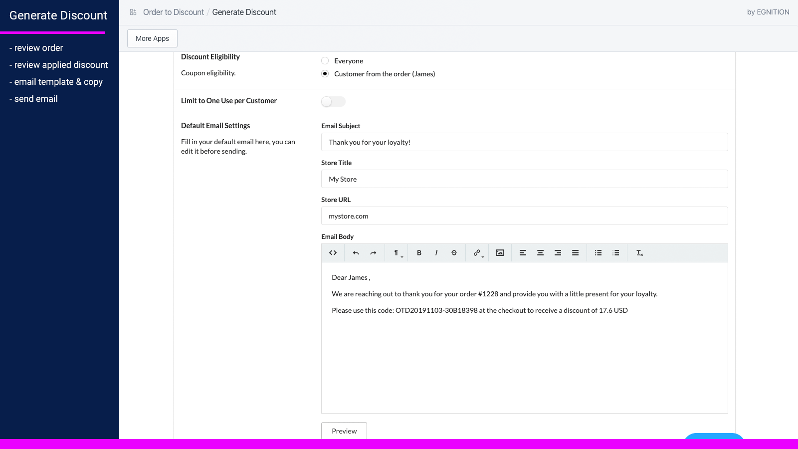 Discount email notification settings and preview.