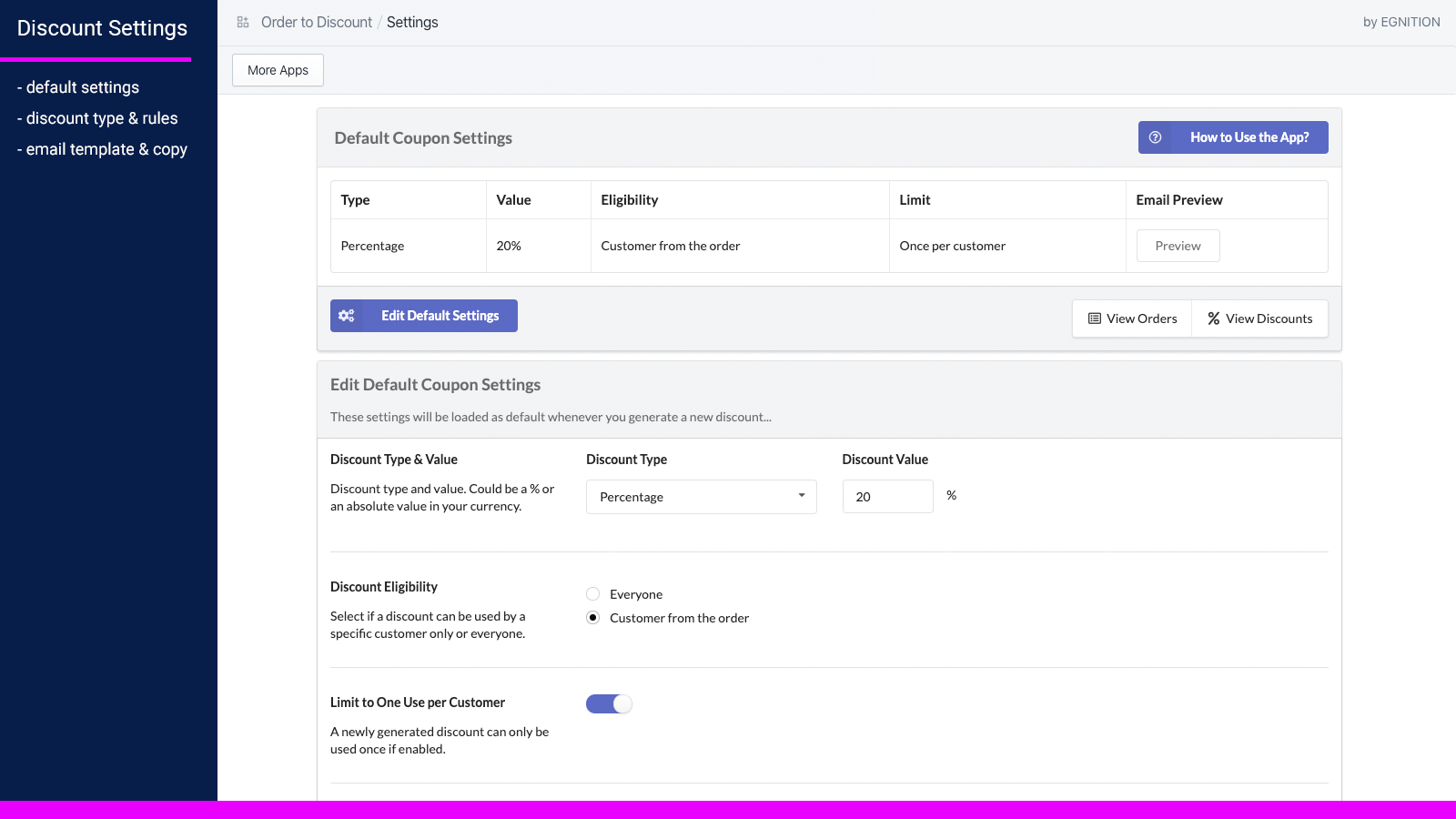 Order to discount main settings page.
