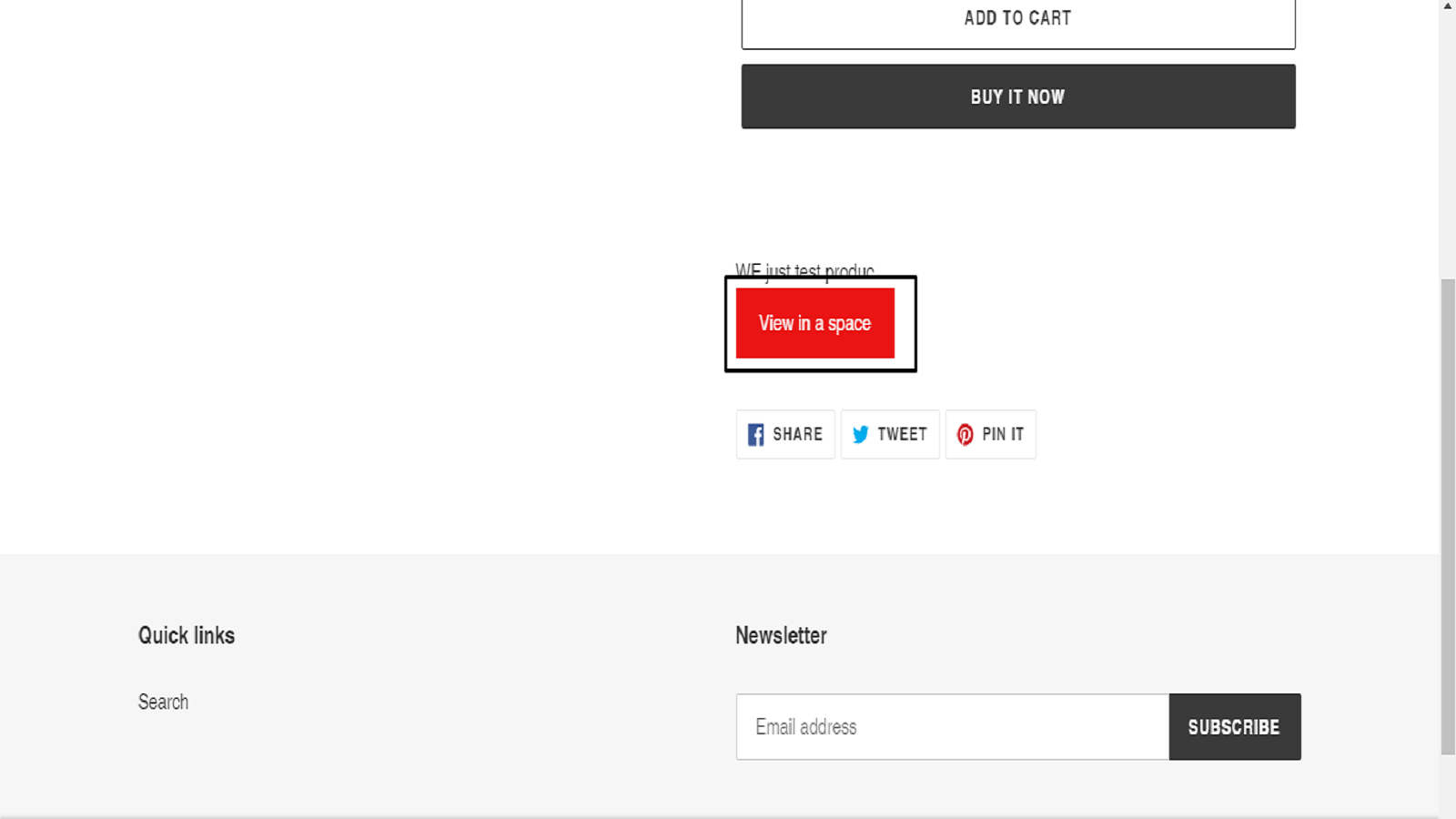 Check added button in the product page of the store