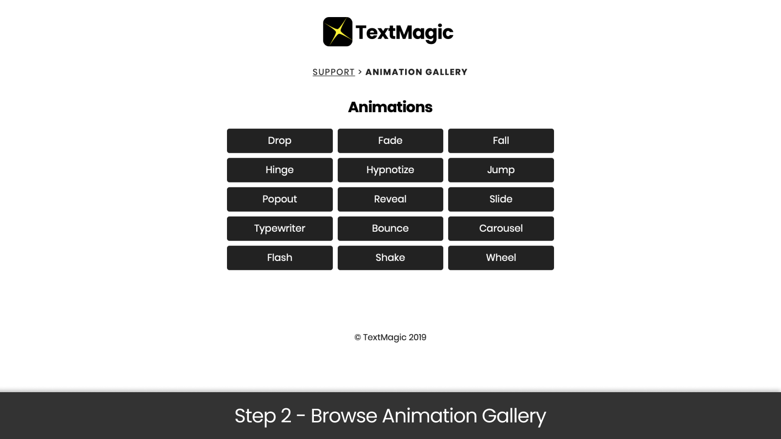 Step 2 - Browse animation gallery