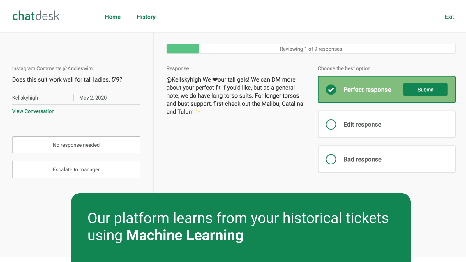 Our platform learns form your historical tickets