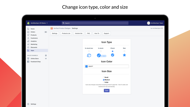 Changing verification icon (badge) type, color and size