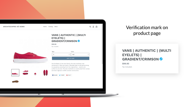 Verified product's page –Shopify badges