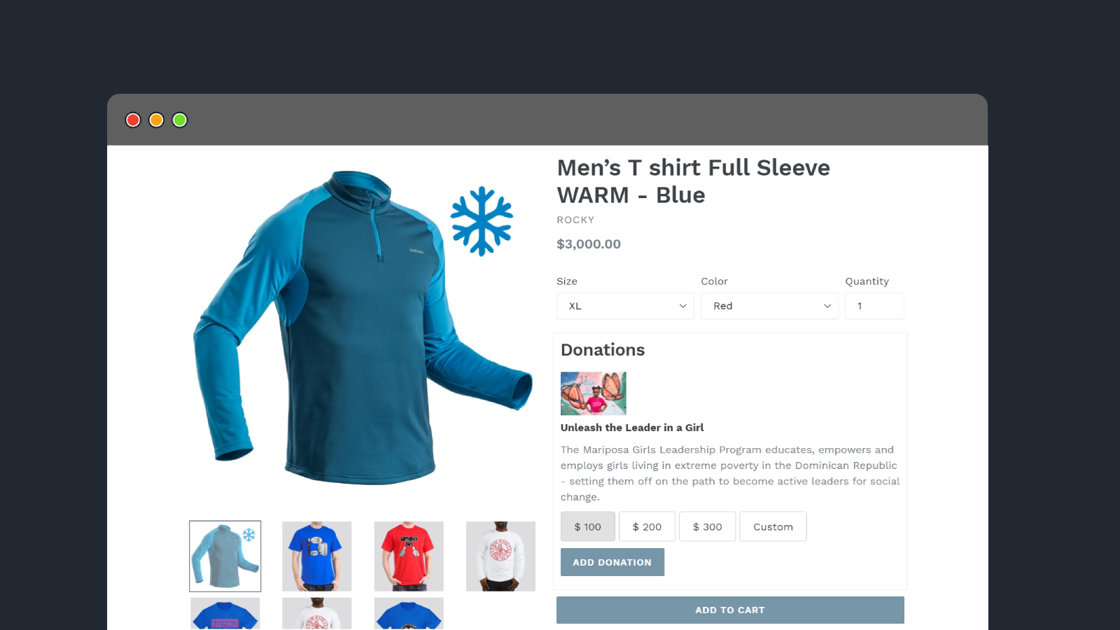 Donation on Product Page