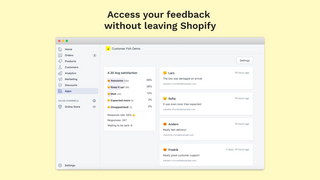 Feedback results without leaving Shopify