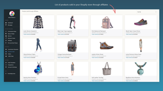 List of products sold in Affilo. Affiliate Marketing Software