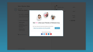Post purchase popup in Affilo. Affiliate Marketing App