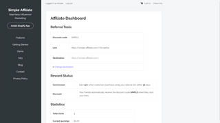 Simple Affiliate - Desktop Customer Dashboard