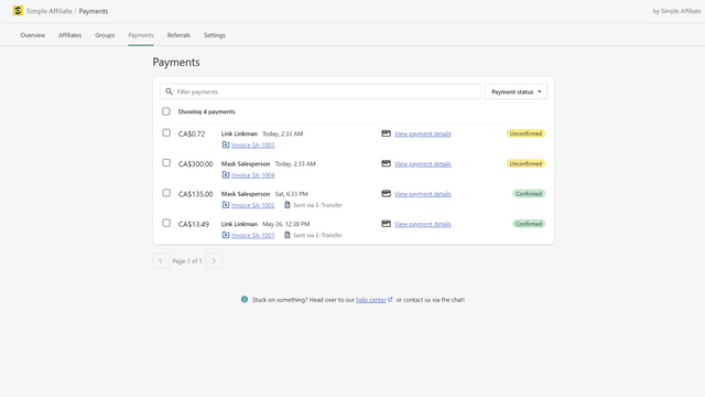 Simple Affiliate - Payment List