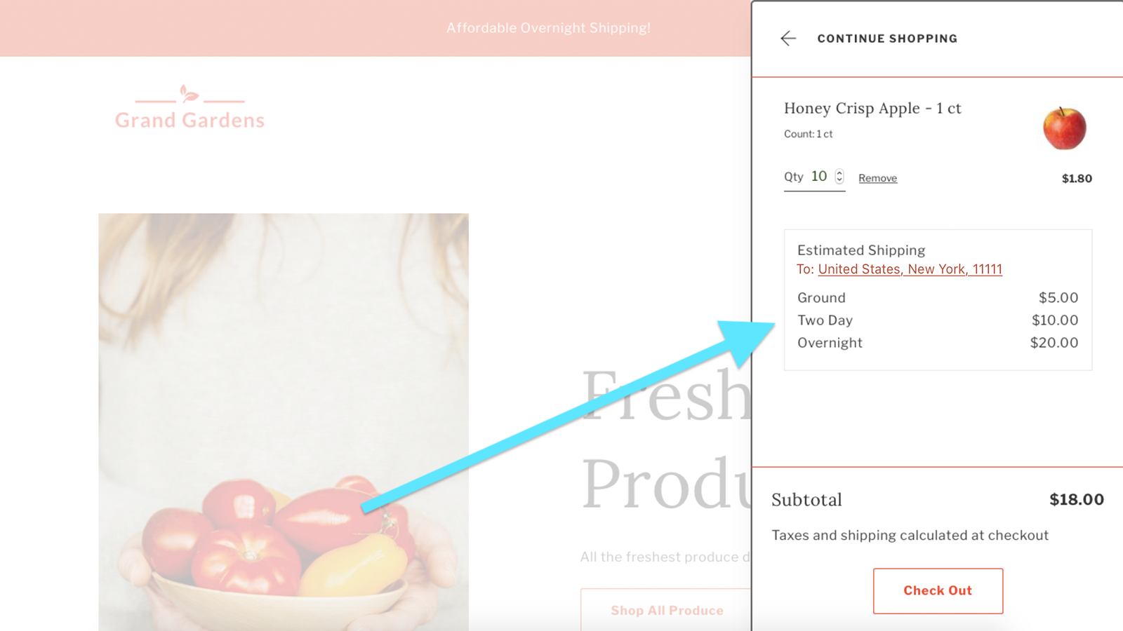 Shipping Rates Widget - Example on Website Cart Drawer