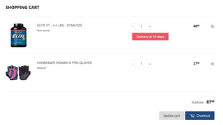 pre-order prompt text style on shopping cart page