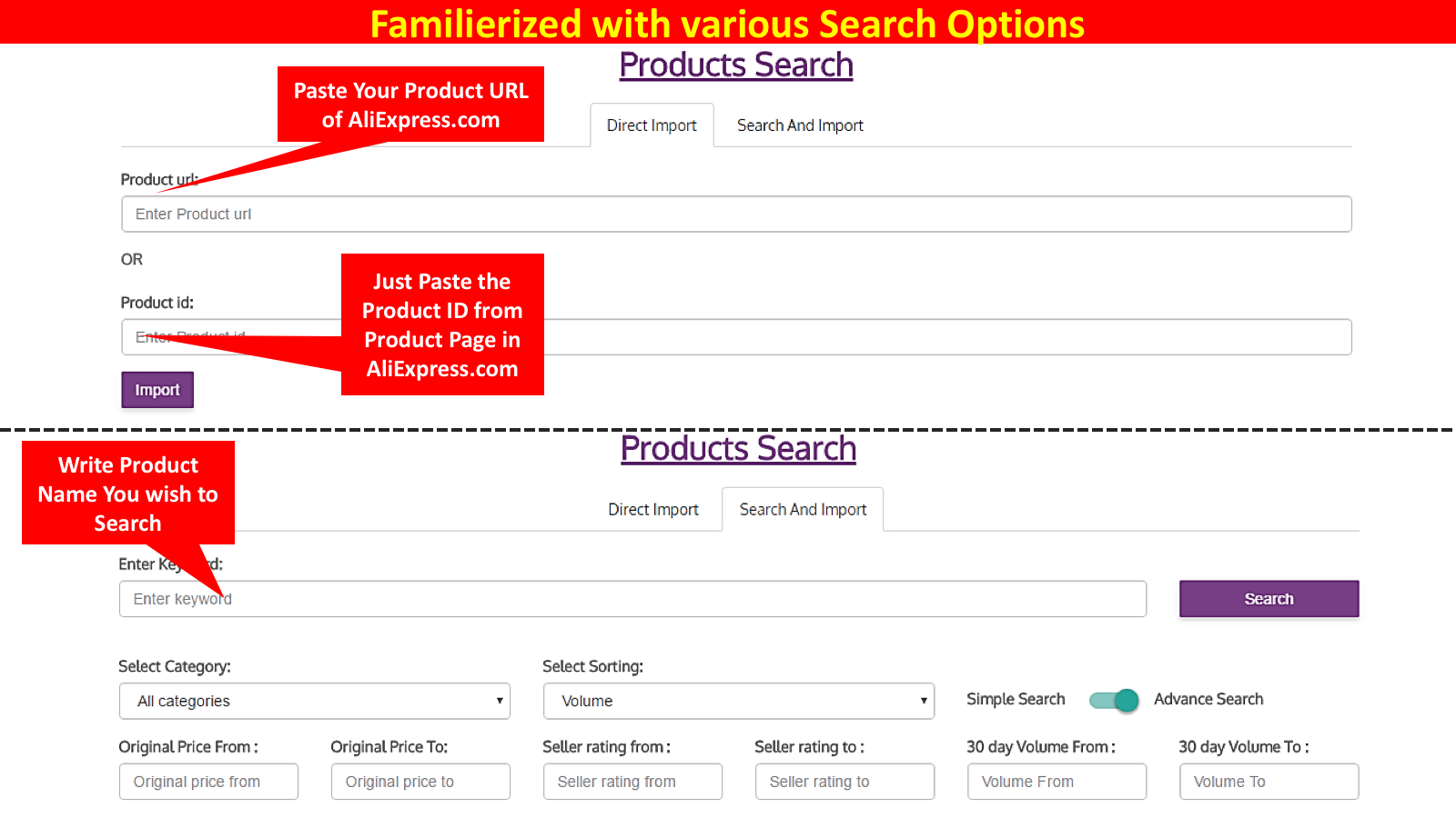 Familiarise with Search Options