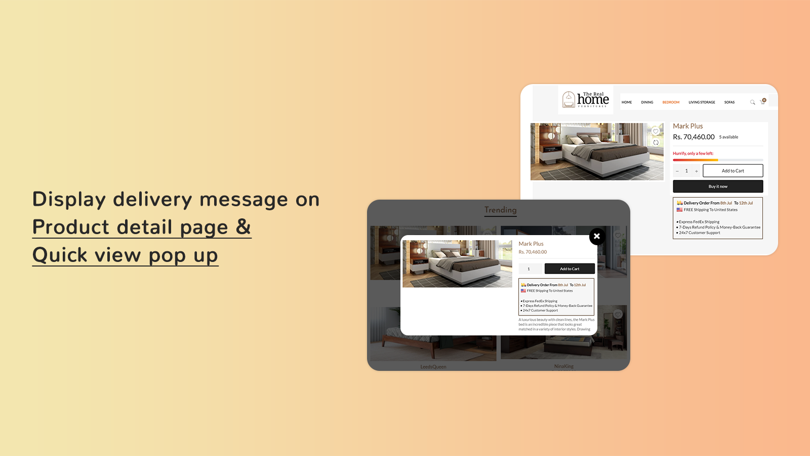Display message on product detail page and quick view pop-up