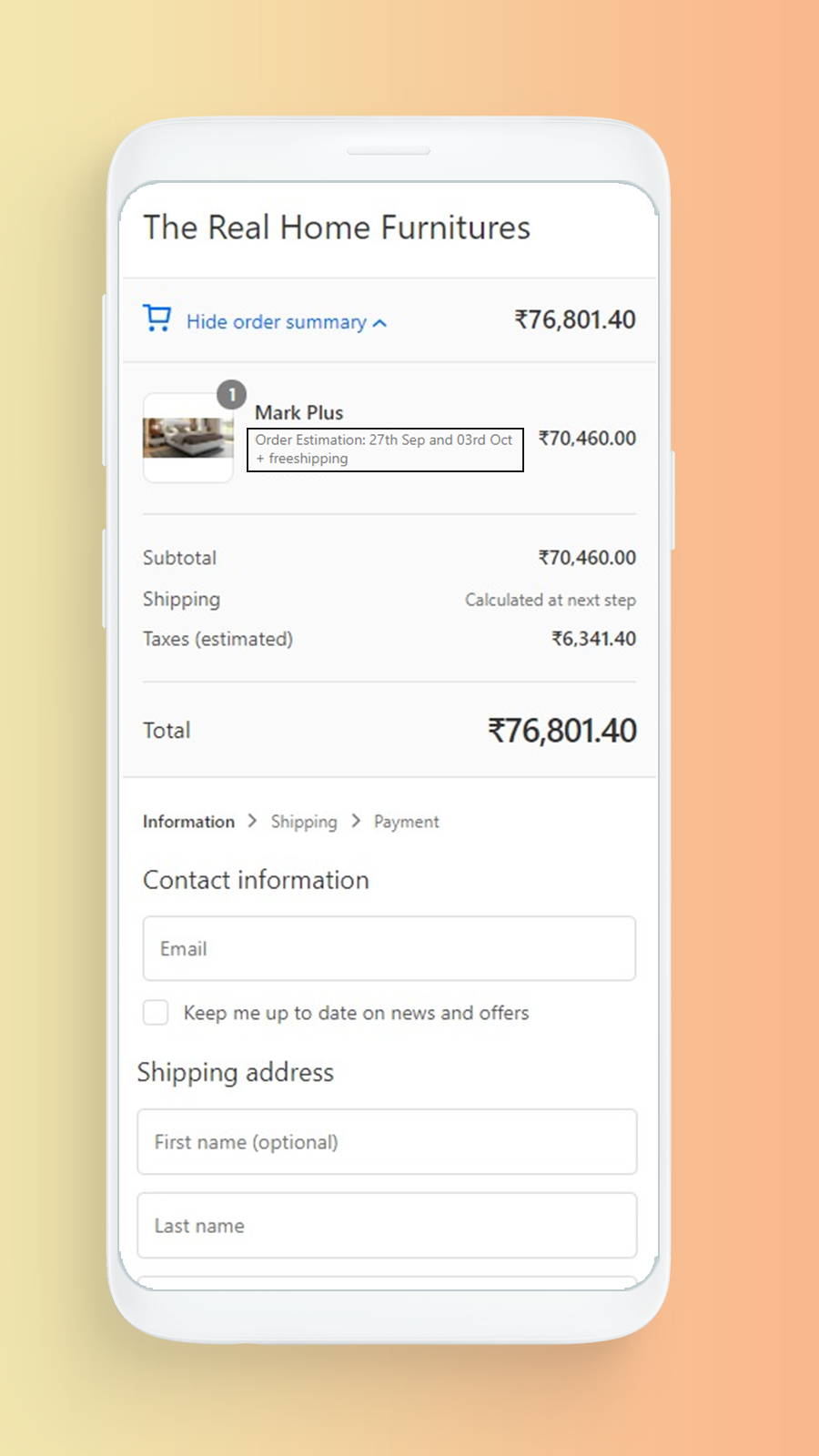 Message on cart page