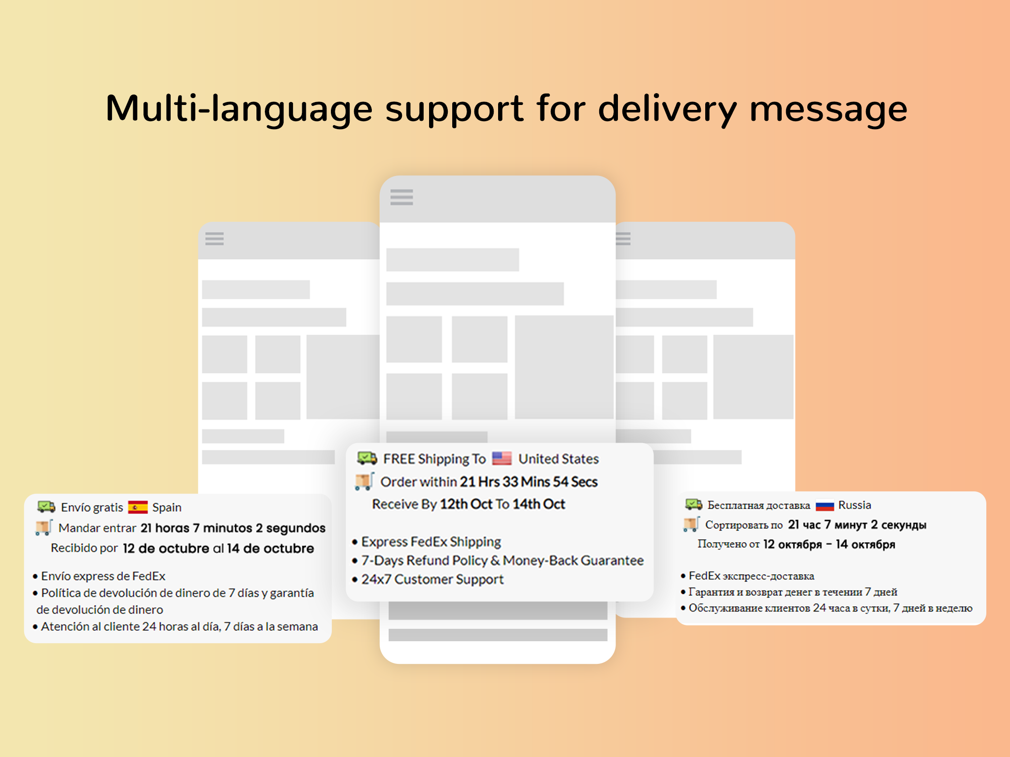 Multi-language support for configuring the delivery message