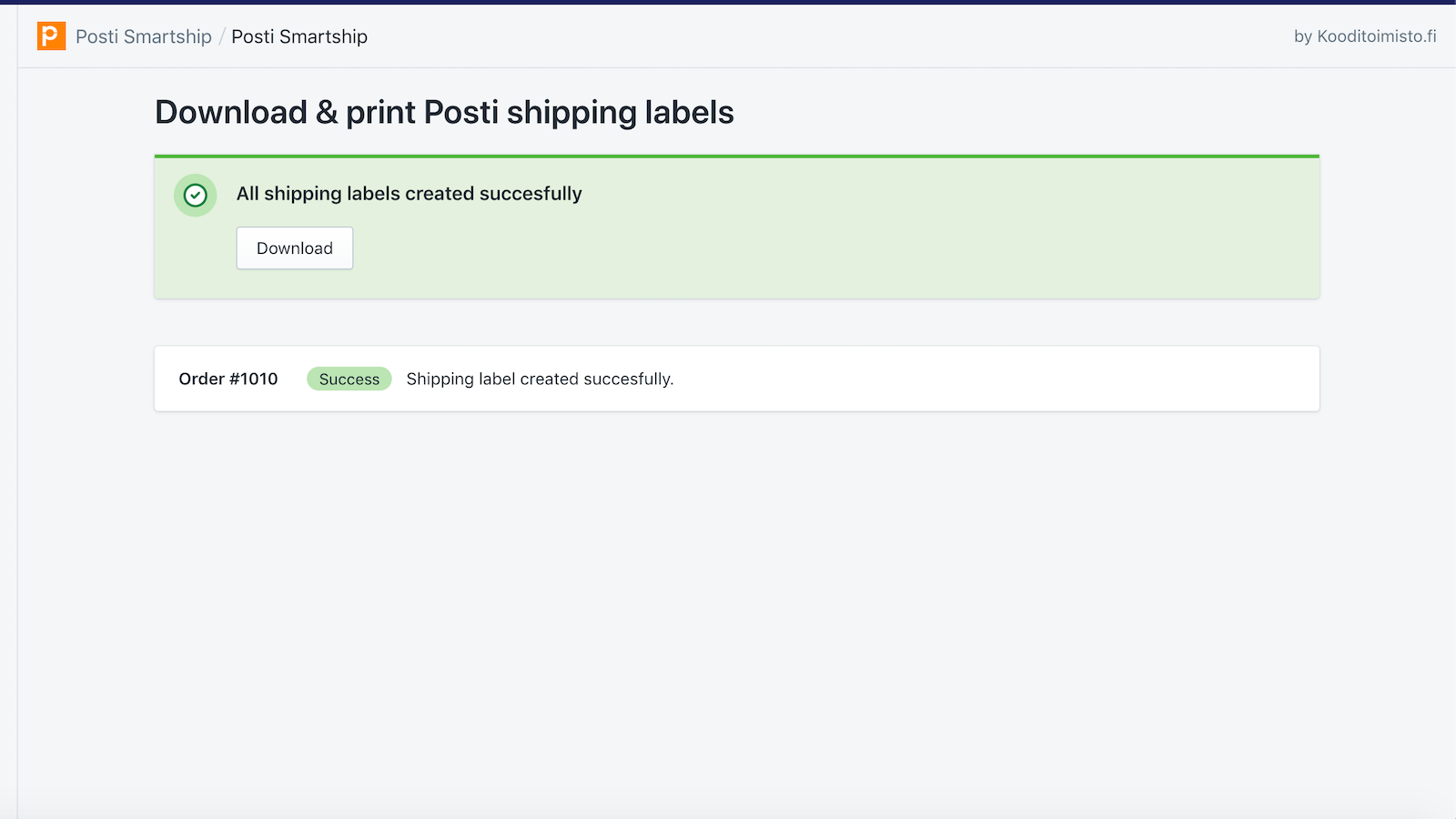 Shipping labels successfully created