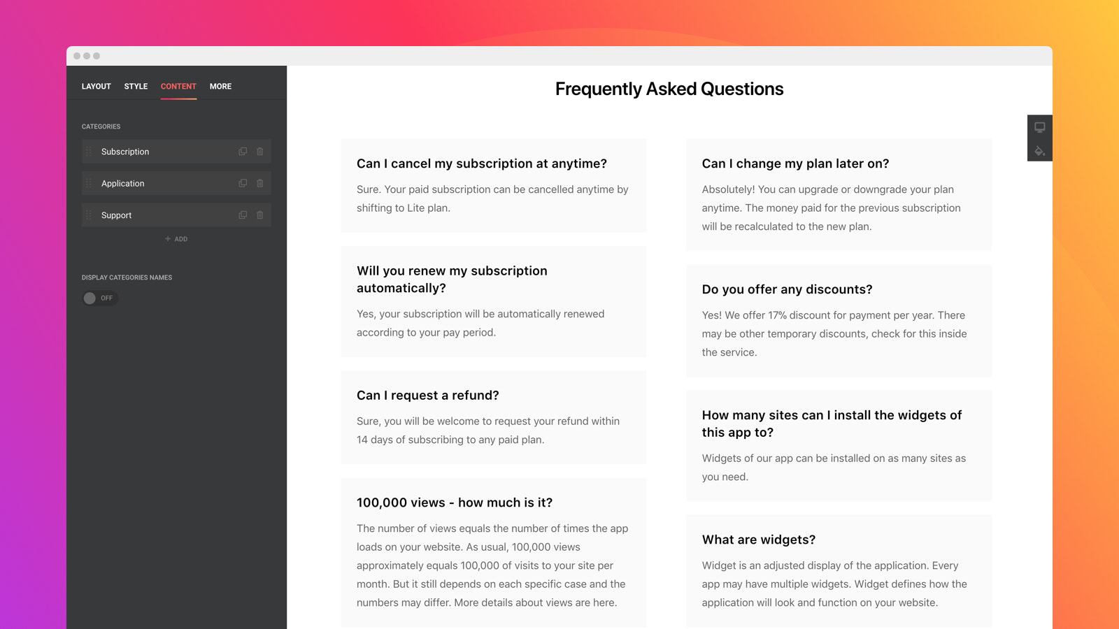 Break down your questions into several columns
