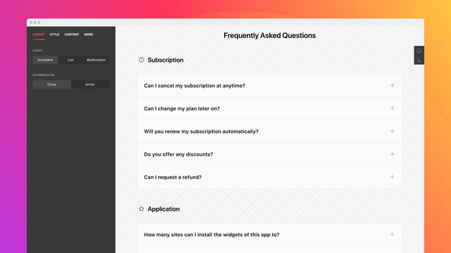 Display your questions in an accordion