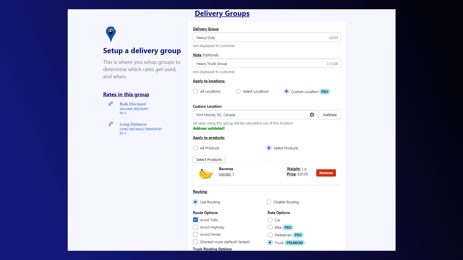 Raven - Custom delivery Rates group setup user interface