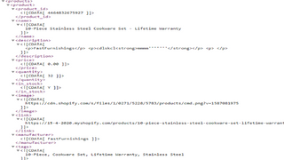 Part of xml with product options export