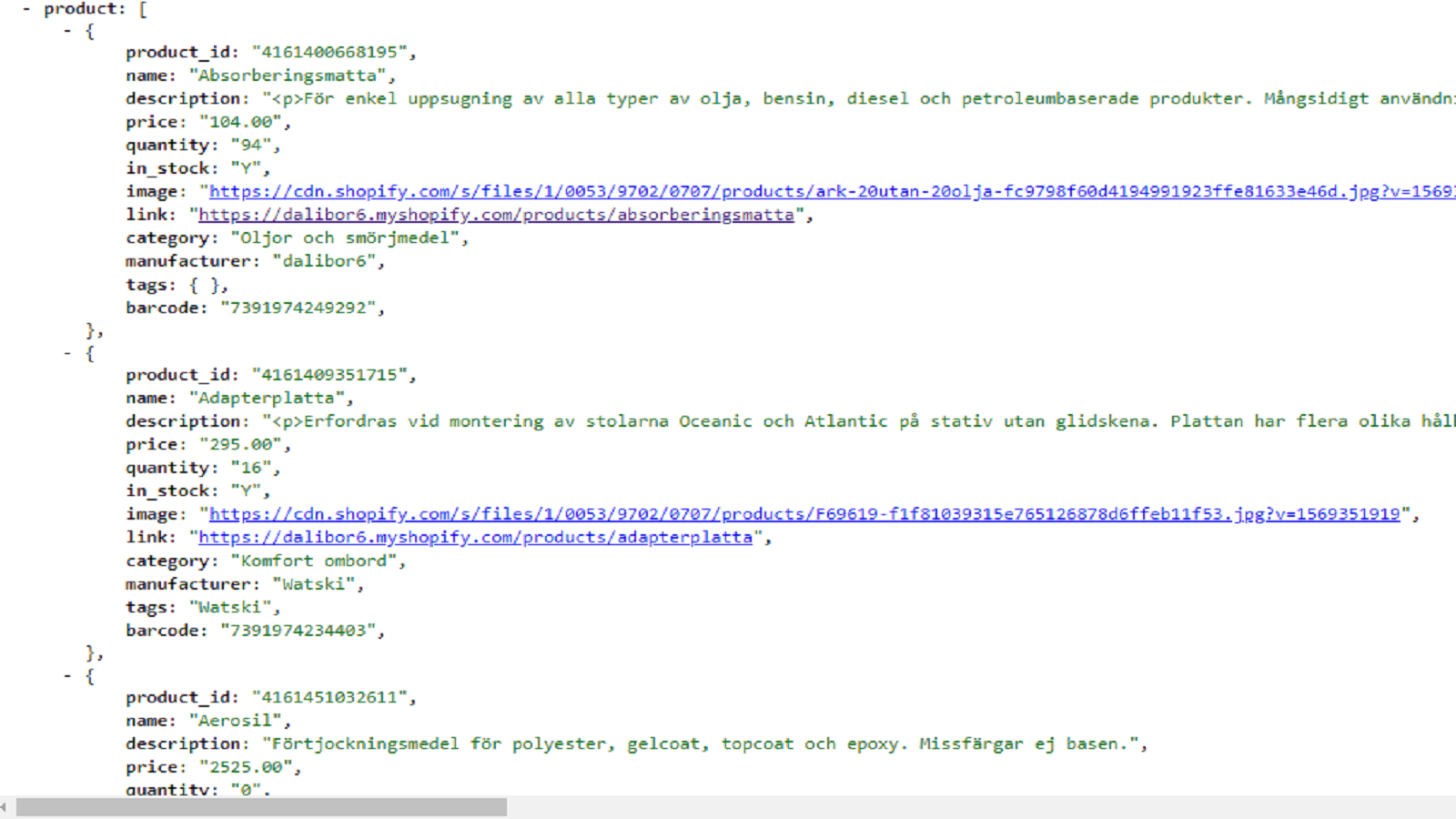 Part of json with product manufaturer and vendor  export