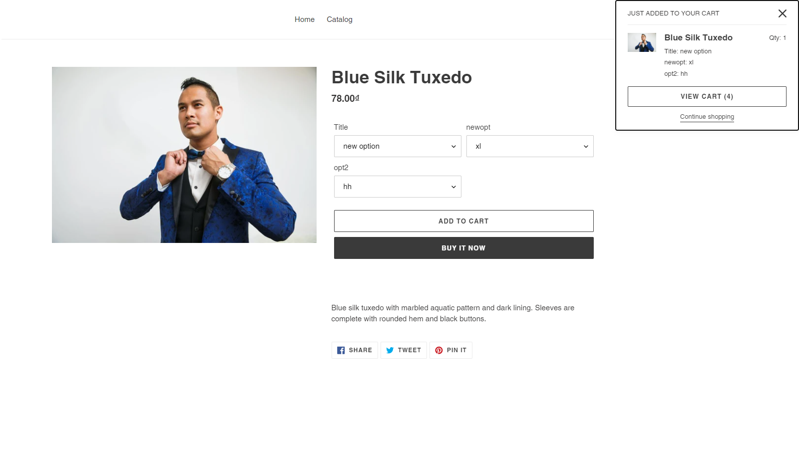 Add product by ajax from catalog product page