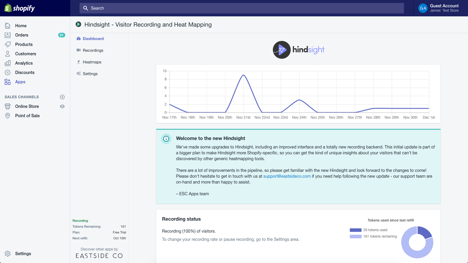 New easy-to-use dashboard for tracking your recording status.