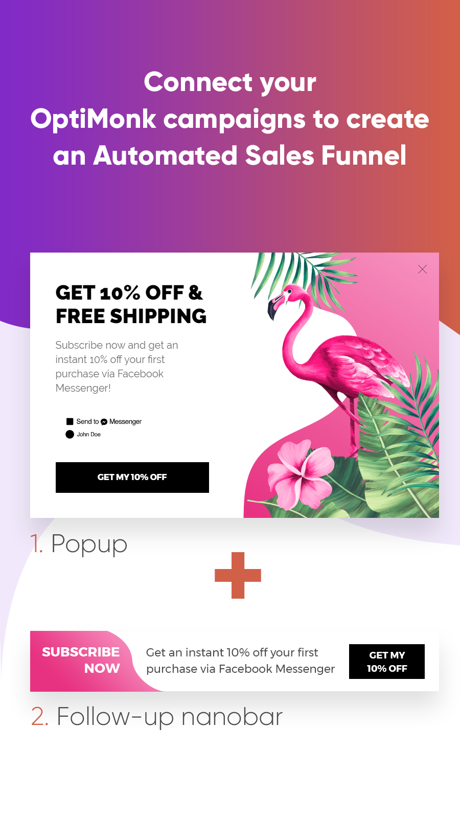 connect popups, nanobars and sidemessage to create sales funnel